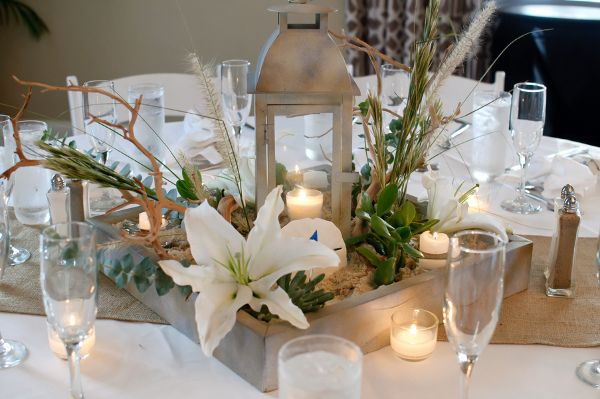 succulent beach wedding centerpiece Succulent Inspired Beach Wedding from Carrie Wildes Photography