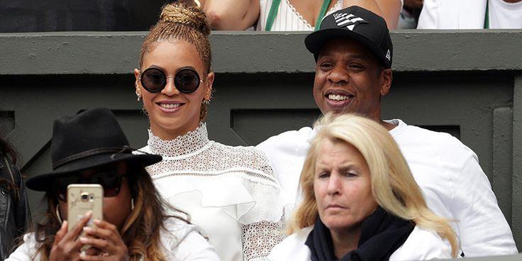 Jay Z and Beyonce watching Serena Williams at Wimbledon 2016
