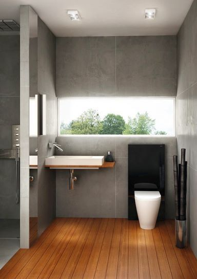 concrete walls teak floor modern sanityware bathroom