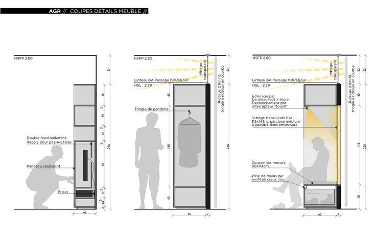 Rénovation dun appartement contemporain à lyon avec un meuble central sur mesure détail