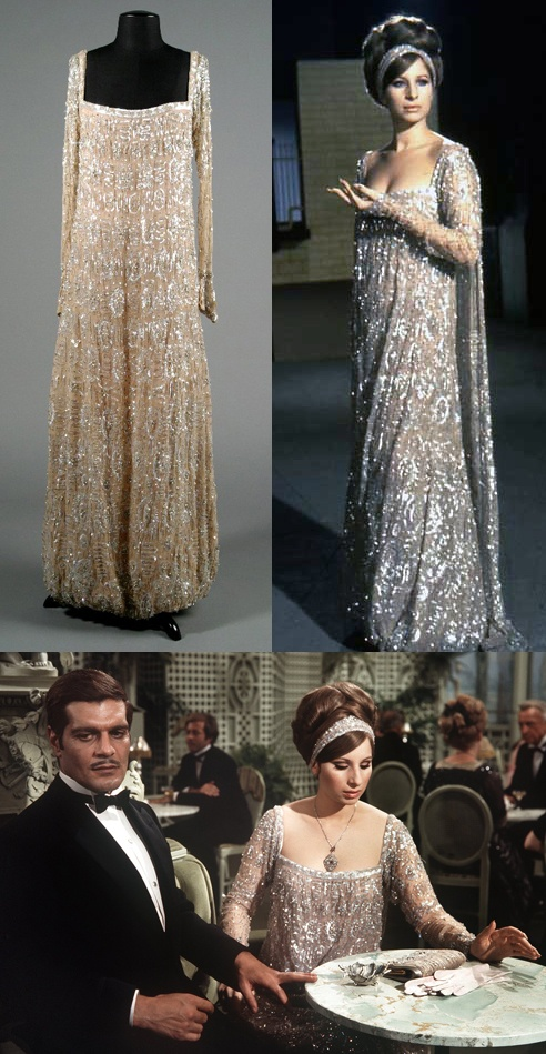"""I feel bad for putting Barbara Streisand in a category about """"Old Hollywood"""" but if you're a legacy, you're a legacy. Here she is in """"Funny Girl"""". She's workin' the hair, the swooped bangs, the headwrap, and the dress, all while playing irresistible to her man."""
