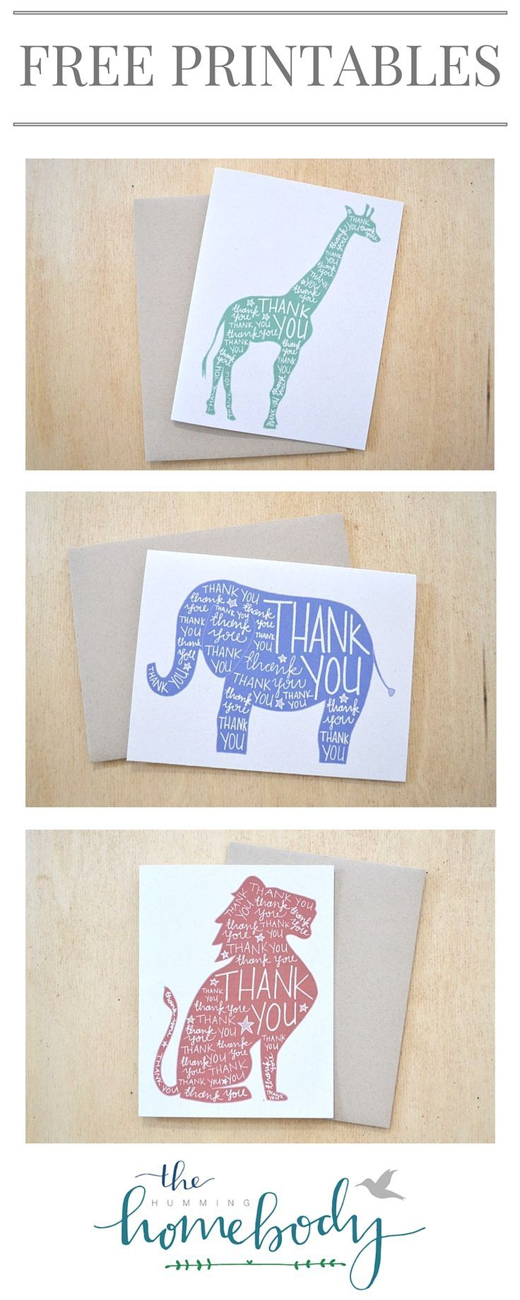 FREE printable safari animal thank you cards. Includes a giraffe, elephant, and lion. Cute for kids birthday or baby shower!