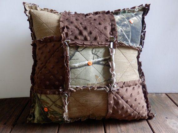 Camouflage Rag Pillow, Camo, Minky, Fully STUFFED, Orange Buttons- Handmade in NJ -