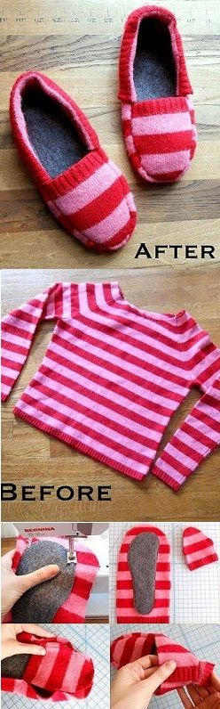 Turn a Sweater into Slippers – Tutorial #sewing #slippers #shoes #recycle #upcycle #pink