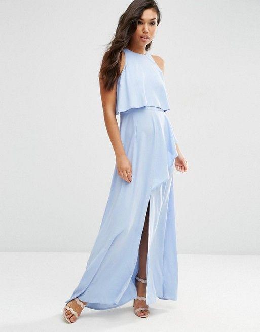 ASOS   ASOS Crop Top Ruffle Split Maxi Dress $94