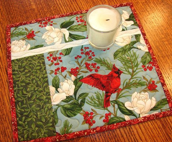 Christmas Cardinal Mini Quilt Mug Rug Candle Mat by susiquilts, $10.00