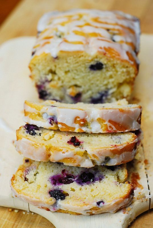 Blueberry vanilla bread with lemon glaze - great for breakfast, dessert, or snack!