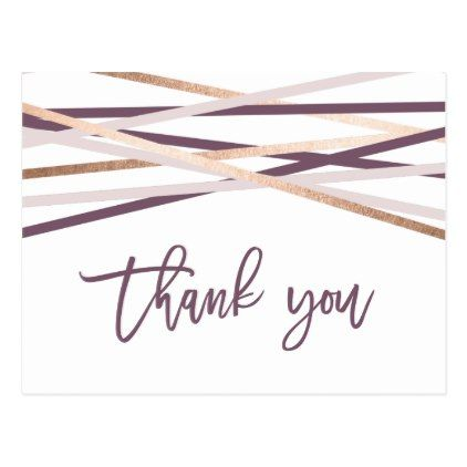 Purple Blush & Rose Gold Streamers Thank You Postcard - bridal shower gifts ideas wedding bride