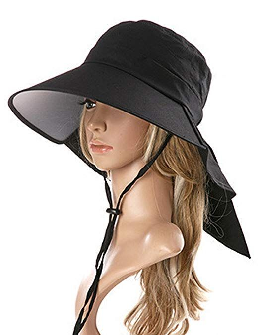 9c57f86eb Lujuny Bill Flap Ponytail Sun Hat – UV Protection Wide Brim Cap ...