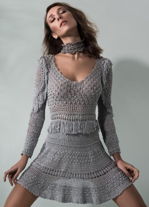Giovana Dias grey mini crochet dress