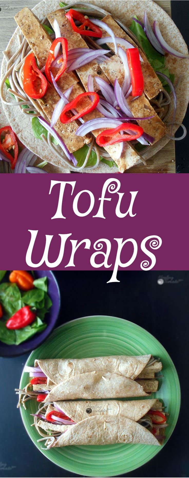 Vegan Tofu Wraps made with Tofu marinated in Peanut sauce.  Quick snack idea, Healthy recipe.  If you are looking for an easy dinner or easy lunch recipe, this is a perfect vegetarian recipe for you
