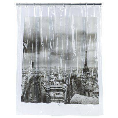 """Paris Shower Curtain - Black/White (72x72"""").Opens in a new window"""
