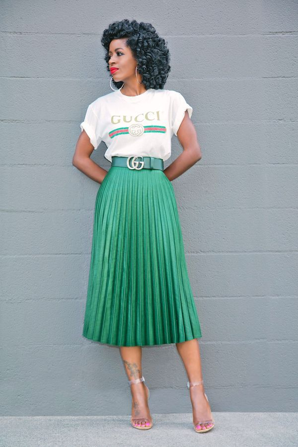 ff6df7e6b Logo Print T-Shirt + Pleated Midi Skirt | At the office | Pleated ...