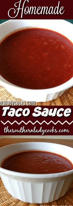 Homemade taco sauce is an easy recipe you can use for many Mexican dishes and tacos. This sauce keeps well refrigerated, can be frozen and is so much better for you than store bought.#sauces #mexican #taco