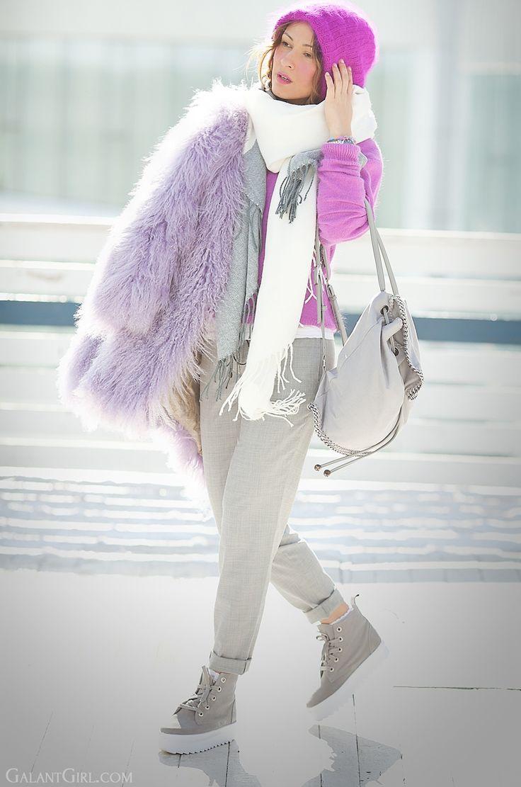 lama fur coat, mongolian fur coat, galant girl, stella mccartney falabella backpack, fuchsia outfit, ukrainian fashion blogger, russian fashion blogger,
