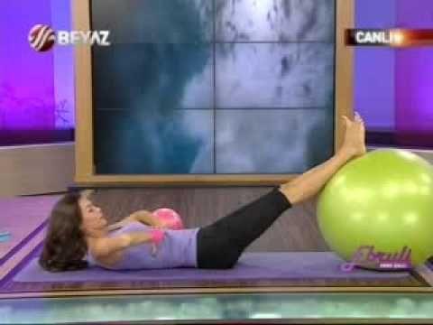 ebru şallı pilates kalça ve bacak hareketleri-basen eritme pilates topu egzersizleri video izle
