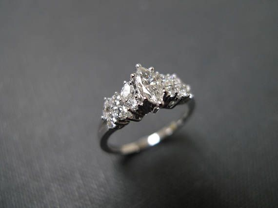Marquise Diamond Ring Engagement Jewelry Wedding In White Gold Jewellery