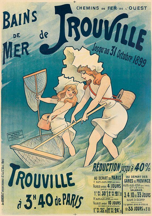 Travel poster by Alfred Choubrac (1853-1902), ca 1897, Bains de mer de Trouville, Chemin de fer de l'Ouest. (F)