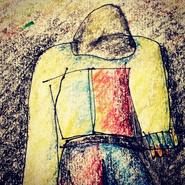 Homeless 3 ink and crayon sketch Phillip Waters