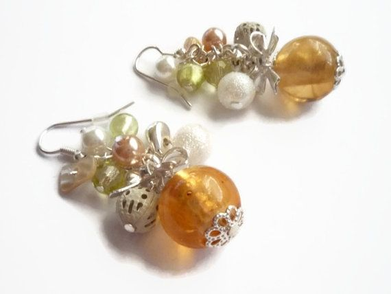 Peach Glass Bead Cluster lace bead ,Dangling Pearl Earrings  by treasurecreator, $18.00