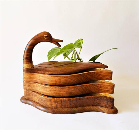 Rotating platter 3 tier wooden serving tray Swan platter