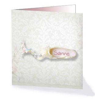 Sprookjes geboortekaartje voor een dochter met een balletschoen! Uit de collectie 'Droomwereld' van Kaartopmaat.nl