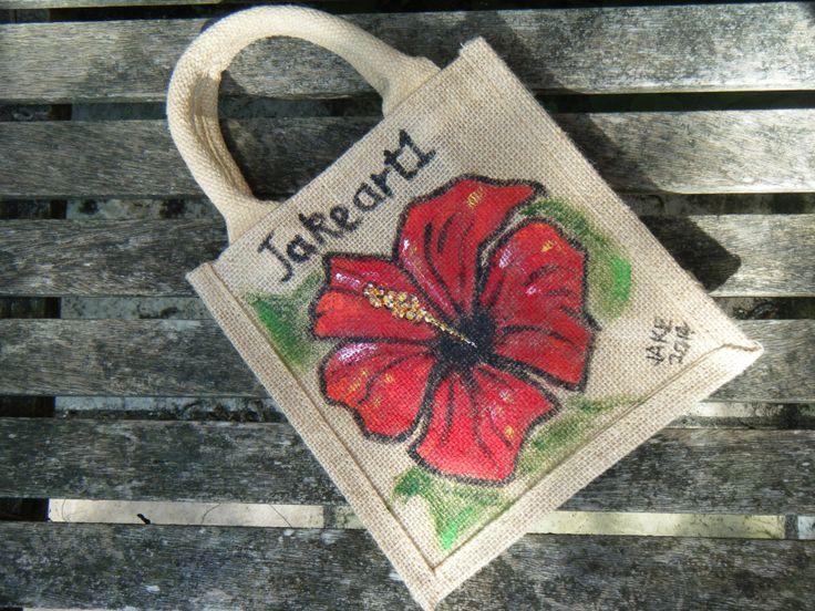 Hand painted jute bag from www.JakeArt1.com