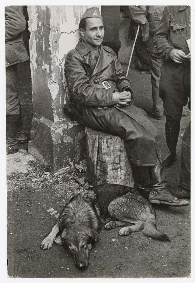 Voluntario Brigadas Internacionales junto a un perro en Les Masies (Tarragona) 25-10-38 Robert Capa
