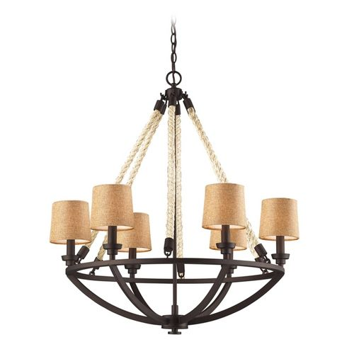 Chandelier with Brown Shades in Aged Bronze Finish | 63016-6 | Destination Lighting