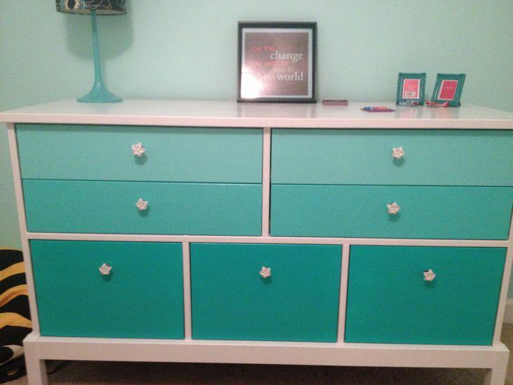 Possible re-do of her old dresser? Ombré dresser for tween bedroom