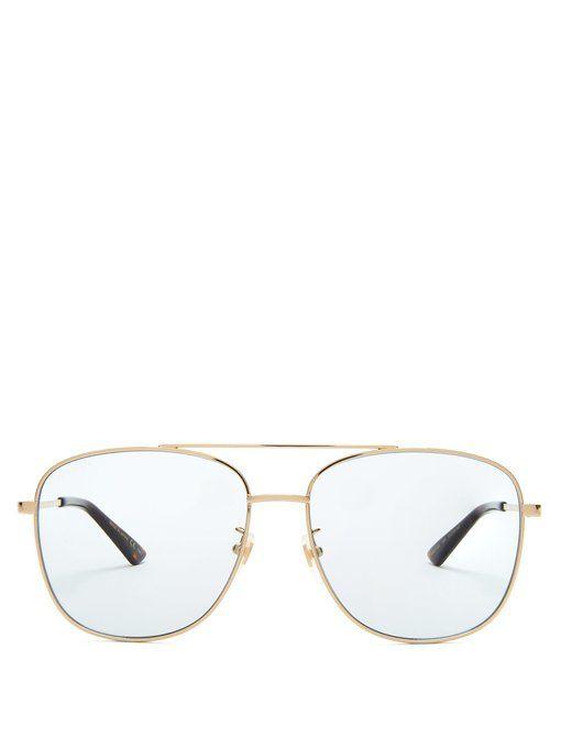 fddbefae779ce GUCCI Aviator square-frame metal sunglasses.  gucci