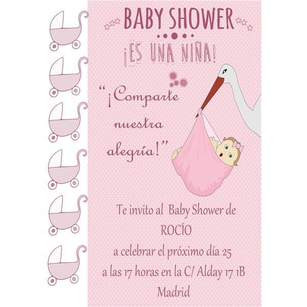 Invitacion Personalizable Imprimible Baby Shower Niña
