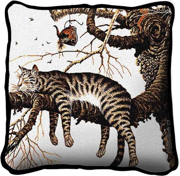 Charles Wysocki | Too Pooped To Participate | Throw Pillow | 17 x 17 - Cat Gifts for People