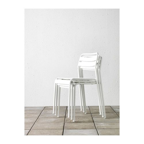 ROXÖ Chair IKEA. Can be stacked, which helps you save space. Very similar to green upright chairs in Jardin du Luxembourg, Paris.