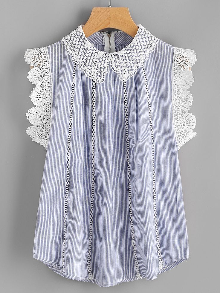 Shop Contrast Scallop Lace Trim Pinstripe Blouse online. SheIn offers Contrast Scallop Lace Trim Pinstripe Blouse & more to fit your fashionable needs.