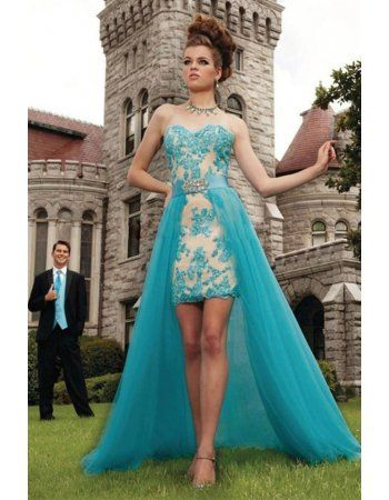 High Low 2017 Arabic Dubai Teal Tulle High Low Lace Prom Dress with Crystal
