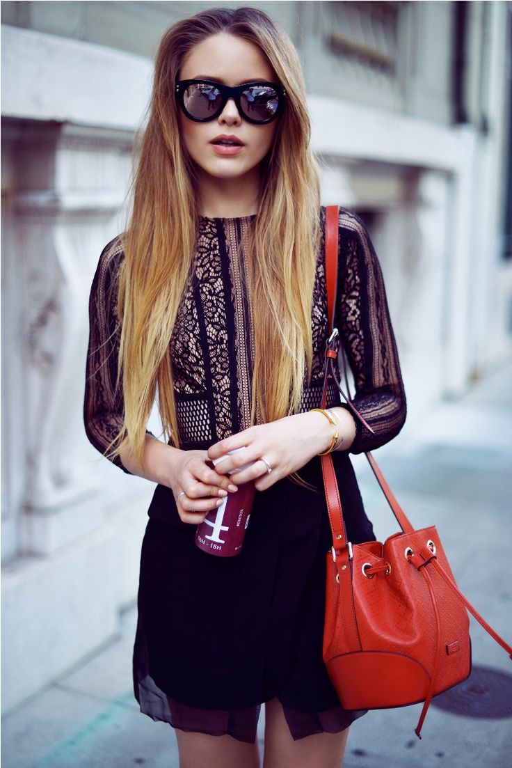 sunglasses with chic outfit and red bucket bag