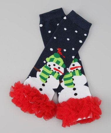 Love this Navy & Red Snowman Leg Warmers on #zulily! #zulilyfinds