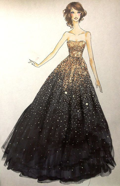 gold and black ball gown; Homecoming&Prom ;christmas, art, winter, drawing, dress, fashion