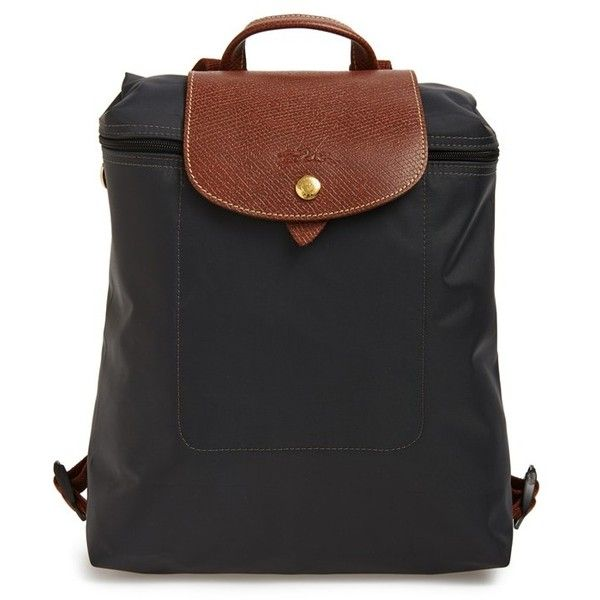 Women's Longchamp 'Le Pliage' Backpack (366.350 COP) ❤ liked on Polyvore featuring bags, backpacks, black, longchamp backpack, strap backpack, longchamp, flap bag and longchamp bag