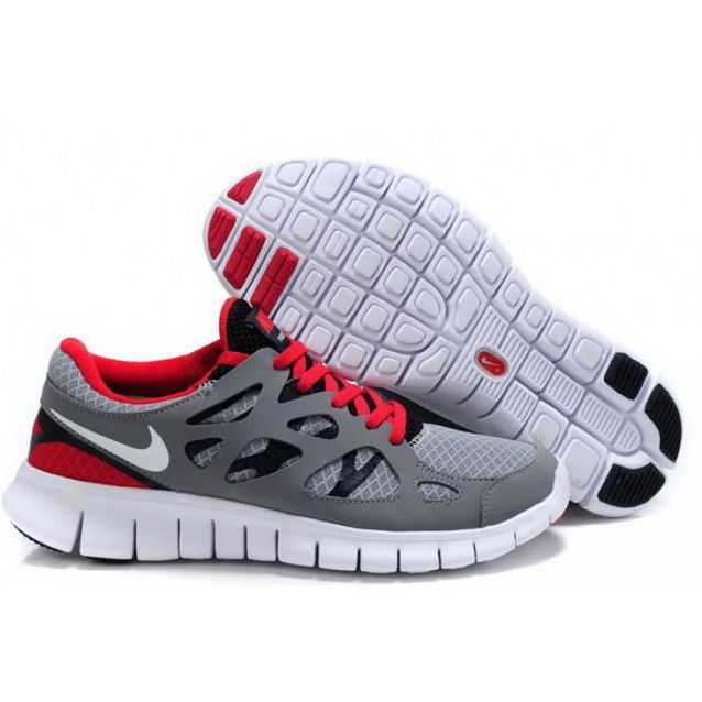 Mens Nike Free Run 2 Shoes Gray Red Black