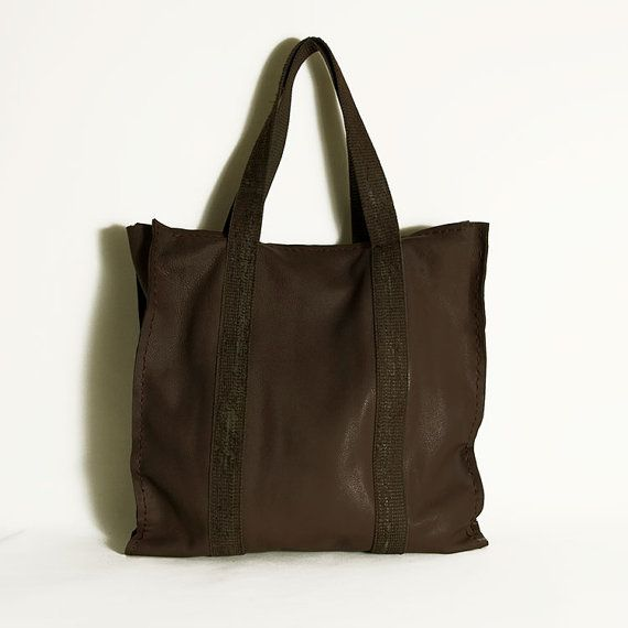 Brown leather tote bag  Casual leather all by ElenaVandelliBags