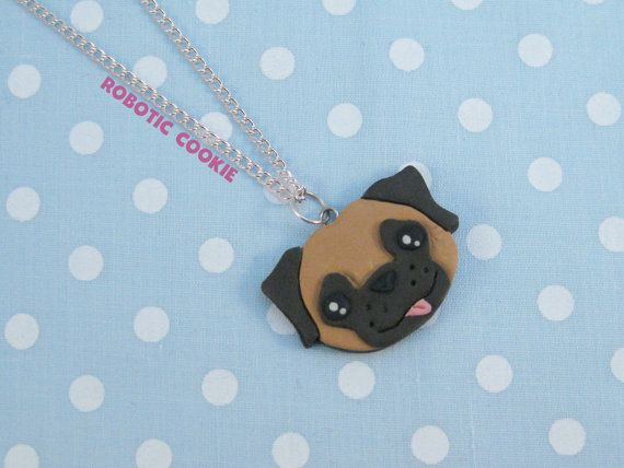 Pug necklace dog cute polymer clay pendant by RoboticCookie