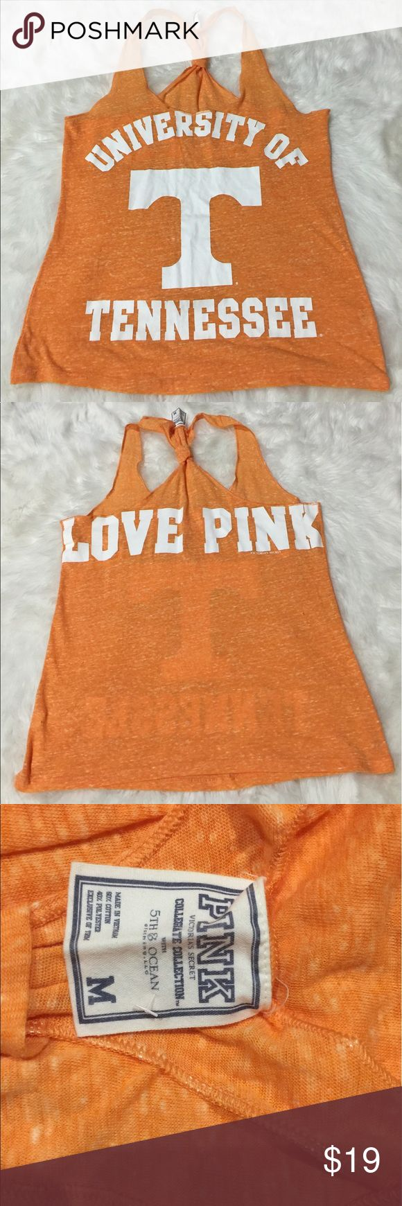 University of tn size medium pink vs tank Light wear, pre owned! Super soft PINK Victoria's Secret Tops Tank Tops