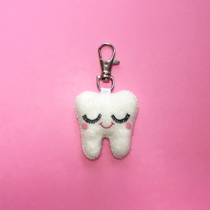 Tooth Keychain - Sweet Tooth Charm - Dental Student Gift - Dentist Gift - Kawaii Tooth - Dental Hygienist Gift - Tooth Charm - Bag Charm by ClaireyLouCreations on Etsy https://www.etsy.com/listing/211869938/tooth-keychain-sweet-tooth-charm-dental