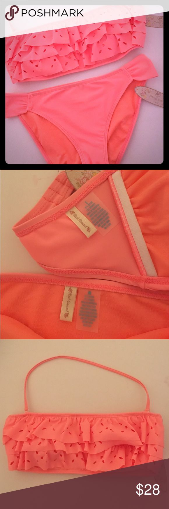 🎁Peach Bikini Set🎁 Get ready for spring break with this laser cut bikini! Peachy orange, ruffled top with laser cut insets, detachable halter strap, standard bikini bottoms. Both NWT, never worn, hygienic liner still attached to bottoms, purchased at Belk. 🚫TRADES🚫LOWBALLING🚫PAYPAL🚫 ✅BUNDLES✅REASONABLE OFFERS✅ Happy Poshing! 😄 Red Camel Swim Bikinis