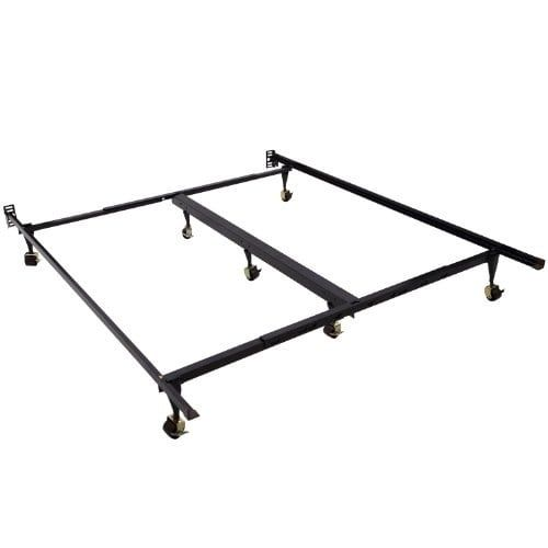 HomCom 7-Leg Adjustable Metal Bed Frame w/ Rollers - Fits Queen / King, Black, Size queen/king