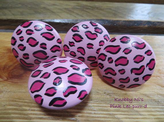 Pink Leopard Print Hand Painted Drawer Knobs / Dresser Pulls
