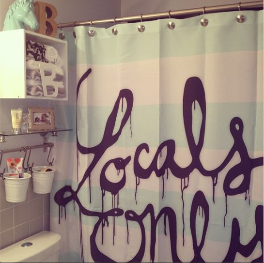 """Locals Only"" by Wesley Bird as a funky shower curtain!"