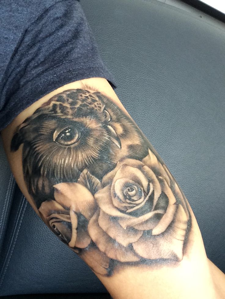 owl with roses tattoo